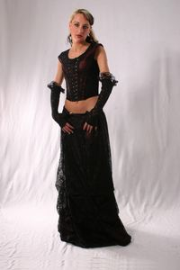 Gothic Satin & Lace Skirt. Gothic Full Length Satin/Net Skirt. 3 Colours available. By Bares~76-324